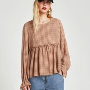 Zara Trafaluc XS Checked Blouse LS Brown NWT